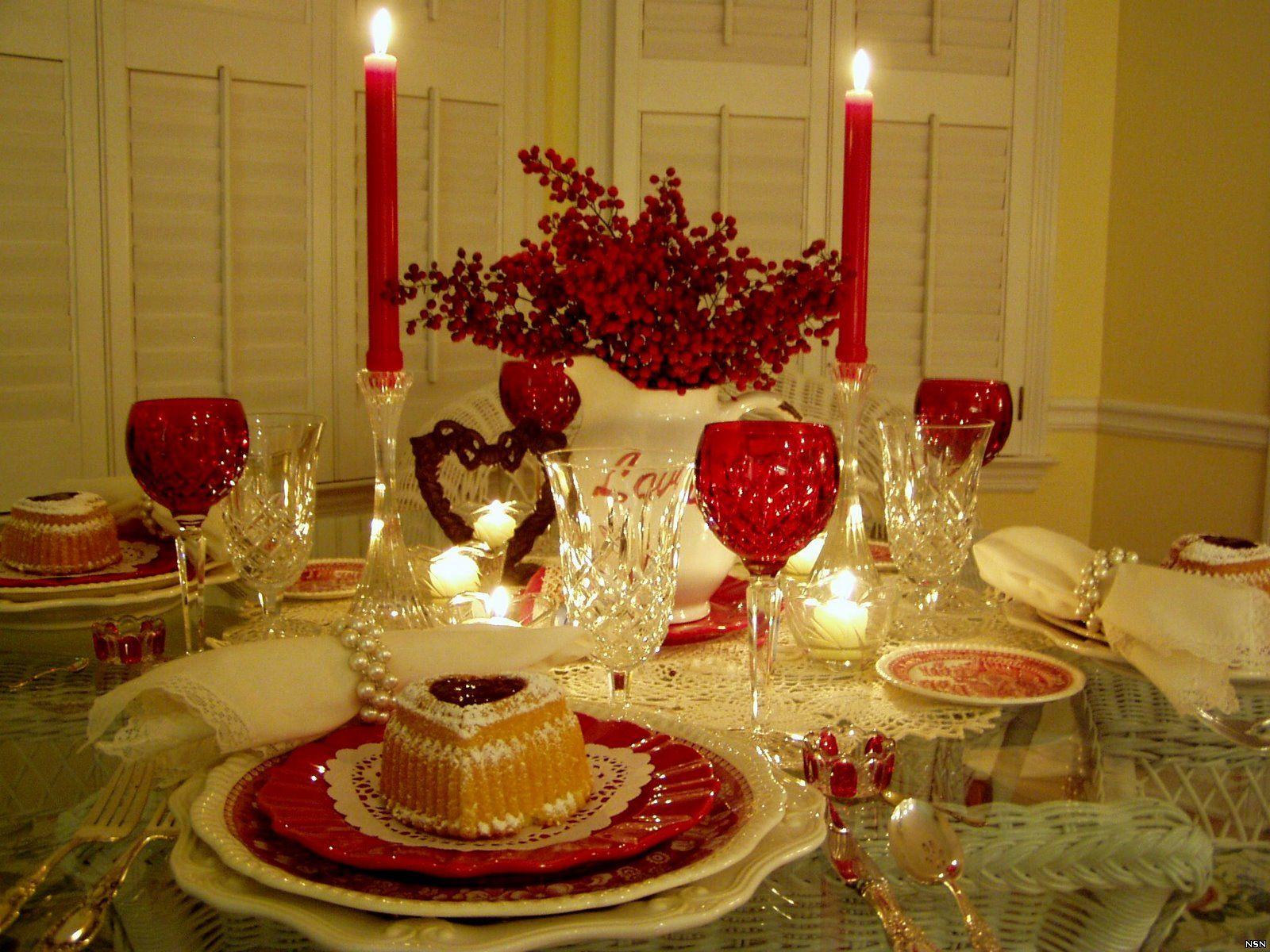 Романтика, сервировка стола